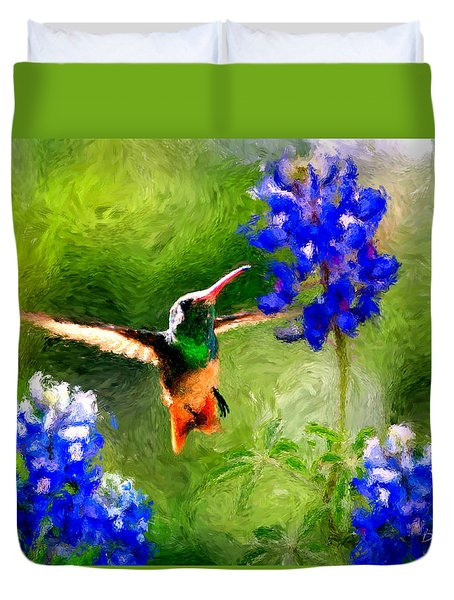 Da161 Texas Bluebonnet Hummingbird By Daniel Adams Duvet Cover