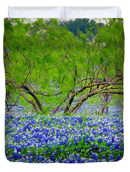 Duvet Cover featuring the photograph Texas Bluebonnets - Texas Bluebonnet Wildflowers Landscape Flowers by Jon Holiday