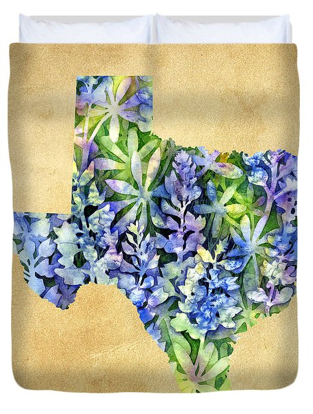 Texas Blues Texas Map Duvet Cover