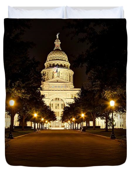 Duvet Cover featuring the photograph Texas Capitol At Night by Dave Files