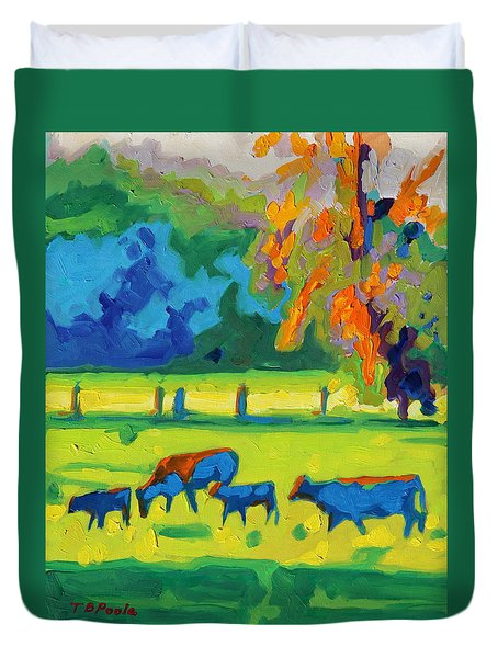 Texas Cows At Sunset Oil Painting Bertram Poole Apr14 Duvet Cover