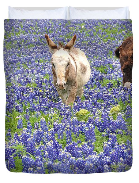 Duvet Cover featuring the photograph Texas Donkeys And Bluebonnets - Texas Wildflowers Landscape by Jon Holiday