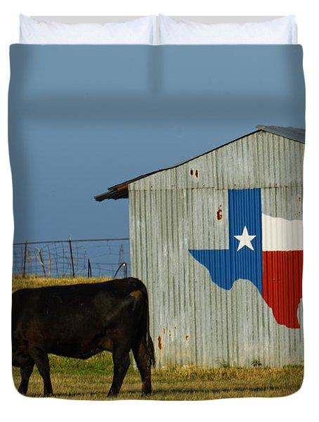 Texas Farm With Texas Logo Duvet Cover