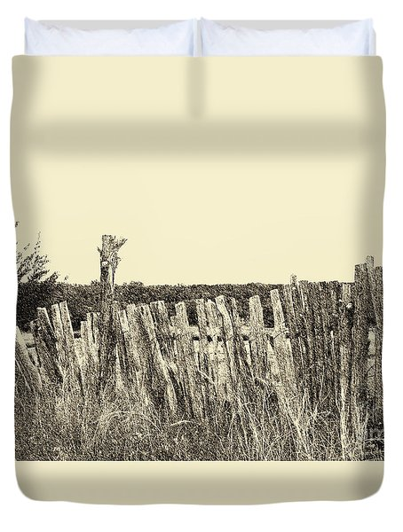 Texas Fence In Sepia Duvet Cover