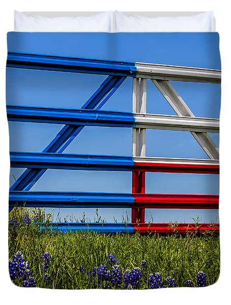 Texas Flag Painted Gate With Blue Bonnets Duvet Cover