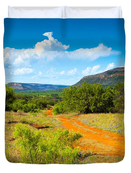Texas Hill Country Red Dirt Road Duvet Cover