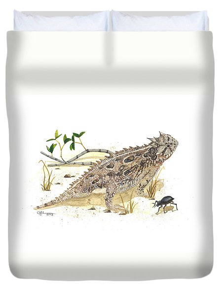Texas Horned Lizard Duvet Cover by Cindy Hitchcock