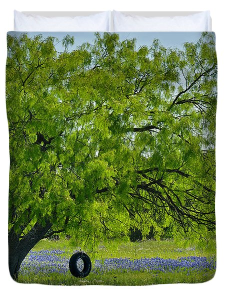 Duvet Cover featuring the photograph Texas Life - Bluebonnet Wildflowers Landscape Tire Swing by Jon Holiday