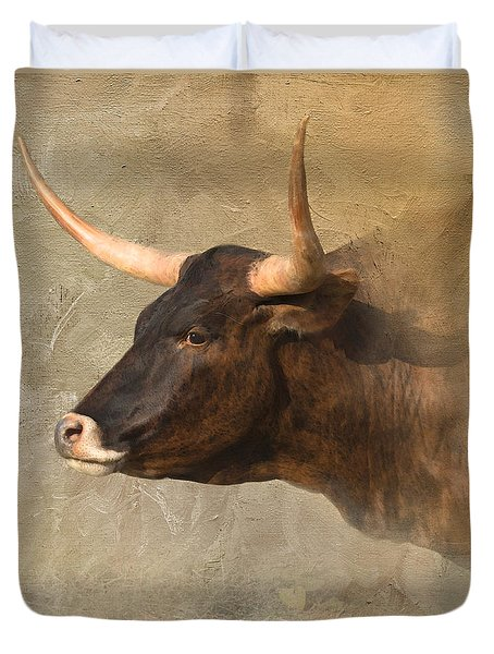 Texas Longhorn # 3 Duvet Cover by Betty LaRue