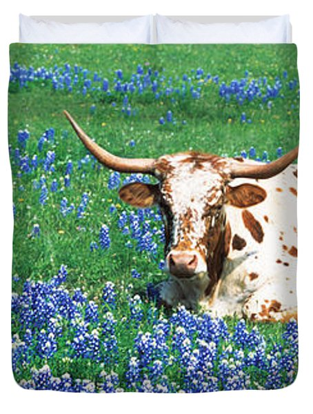 Texas Longhorn Cow Sitting On A Field Duvet Cover