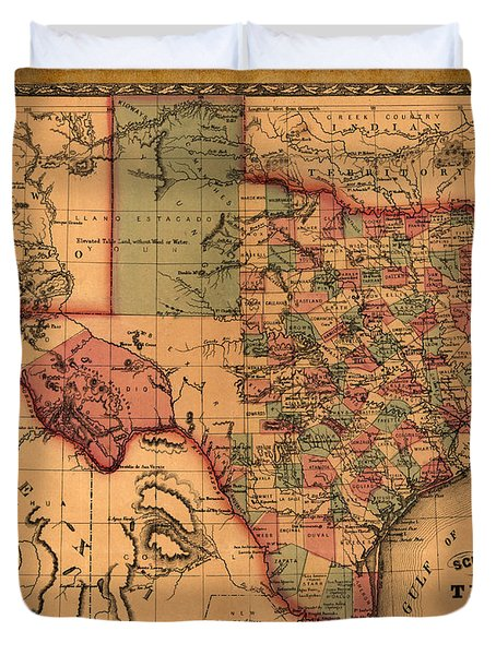 Texas Map Art - Vintage Antique Map Of Texas Duvet Cover
