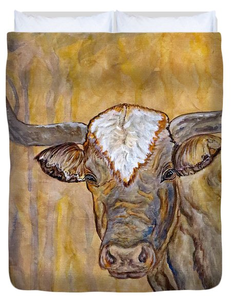 Duvet Cover featuring the painting Texas O Texas Longhorn by Ella Kaye Dickey
