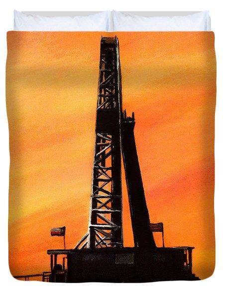 Texas Oil Rig Duvet Cover