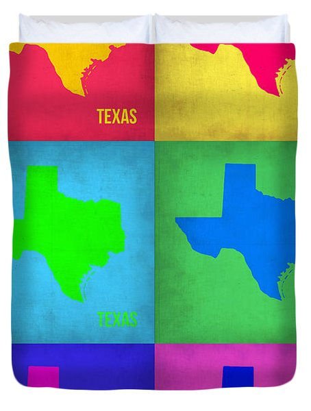 Texas Pop Art Map 1 Duvet Cover by Naxart Studio