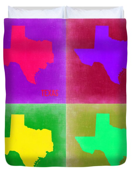 Texas Pop Art Map 2 Duvet Cover
