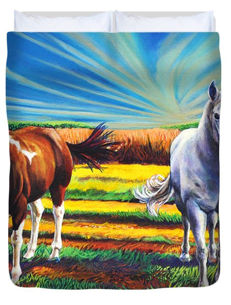 Duvet Cover featuring the painting Texas Quarter Horses by Greg Skrtic