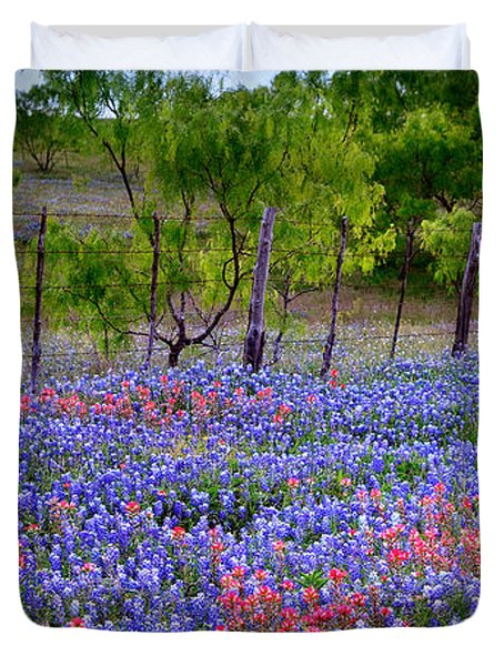 Duvet Cover featuring the photograph Texas Roadside Heaven -bluebonnets Paintbrush Wildflowers Landscape by Jon Holiday