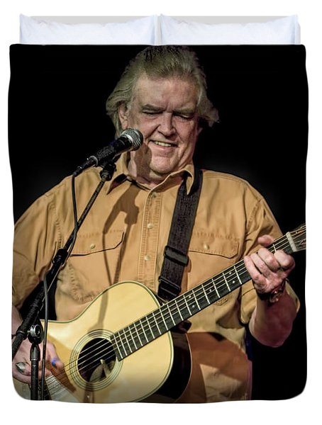 Texas Singer Songwriter Guy Clark In Concert Duvet Cover