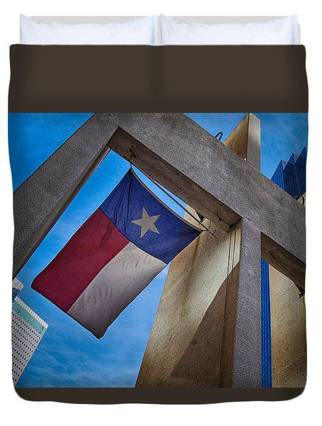 Duvet Cover featuring the photograph Texas State Flag Downtown Dallas by Kathy Churchman