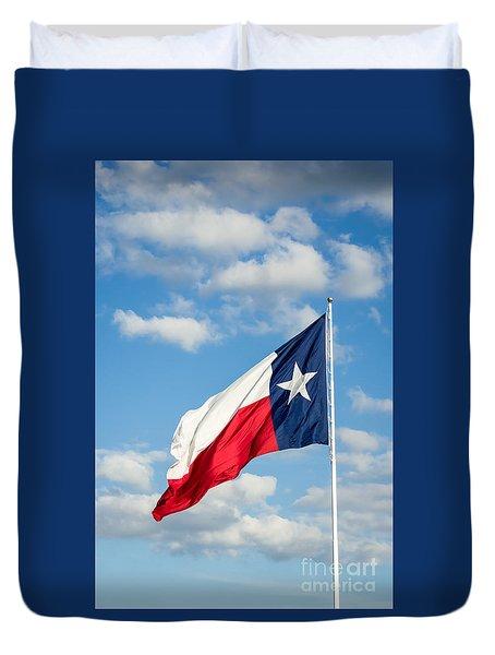 Texas State Flag Waving Duvet Cover