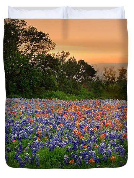 Texas Sunset - Bluebonnet Landscape Wildflowers Duvet Cover