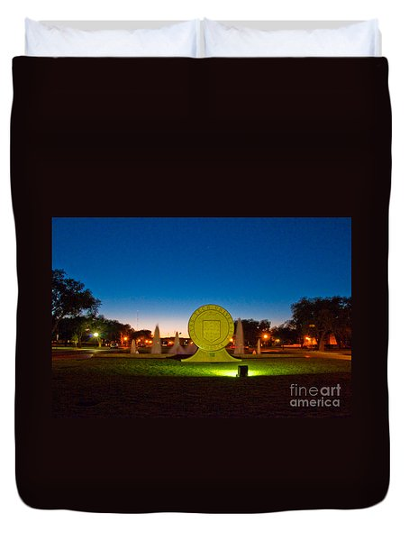 Duvet Cover featuring the photograph Texas Tech Seal At Night by Mae Wertz