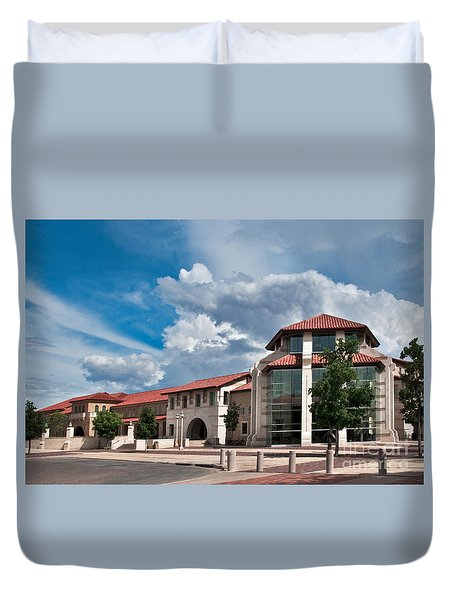 Duvet Cover featuring the photograph Texas Tech Student Union by Mae Wertz