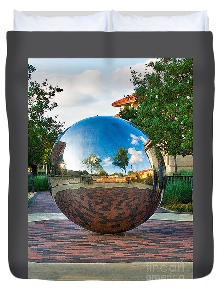 Duvet Cover featuring the photograph Tech World by Mae Wertz