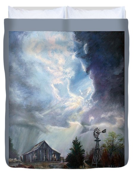 Duvet Cover featuring the painting Texas Thunderstorm by Karen Kennedy Chatham