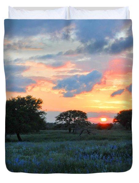 Texas Wildflower Sunset  Duvet Cover