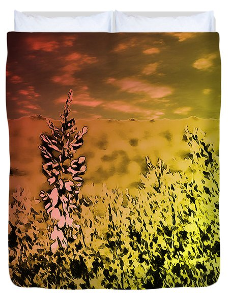 Duvet Cover featuring the photograph Texas Yucca Flower by Bartz Johnson