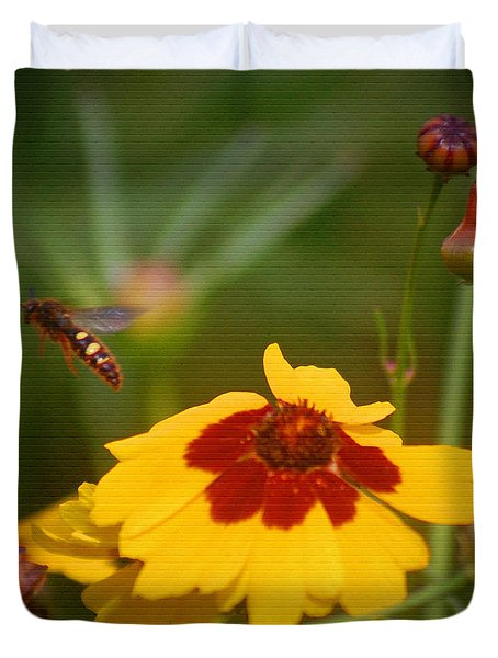 Duvet Cover featuring the photograph Textured Bee by Leticia Latocki