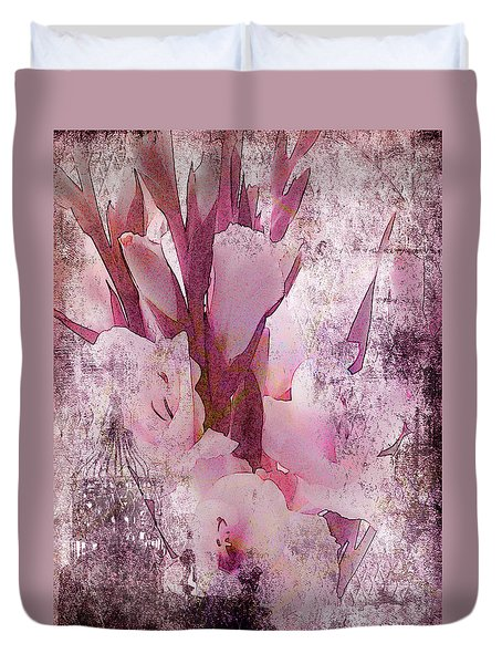 Duvet Cover featuring the photograph Textured Pink Gladiolas by Sandra Foster