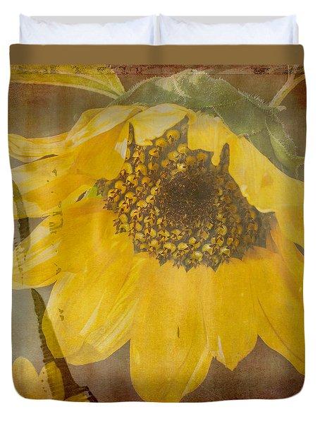 Textured Sunflower Duvet Cover by Arlene Carmel