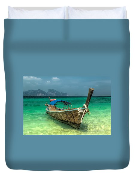 Duvet Cover featuring the photograph Thai Boat  by Adrian Evans