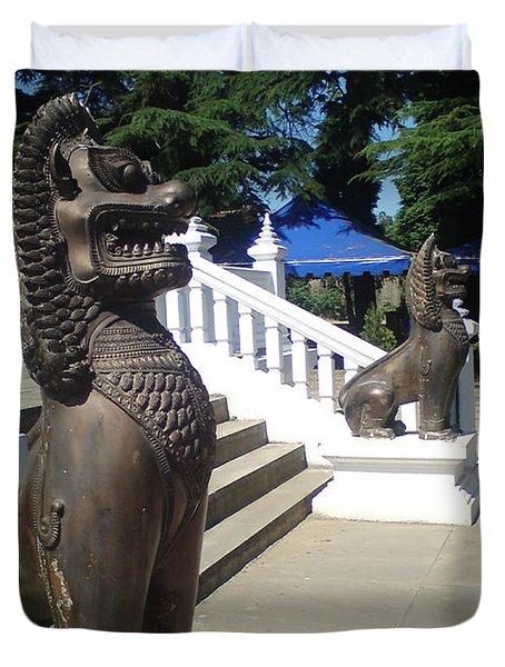 Thai Temple Steps Duvet Cover