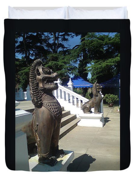 Thai Temple Steps Duvet Cover