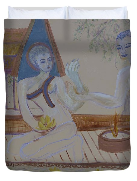 Duvet Cover featuring the painting Thailand by Avonelle Kelsey