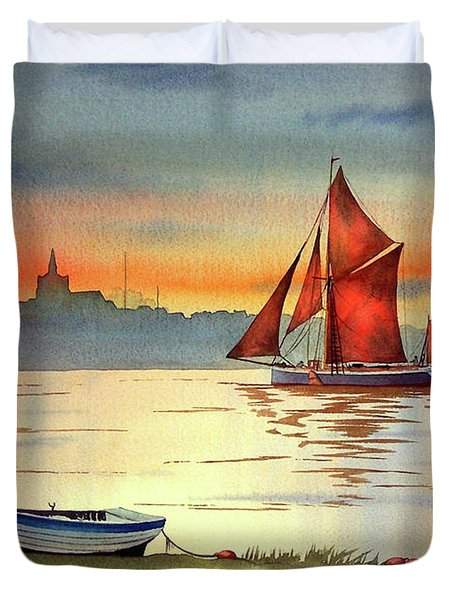 Thames Barge At Maldon Essex Duvet Cover