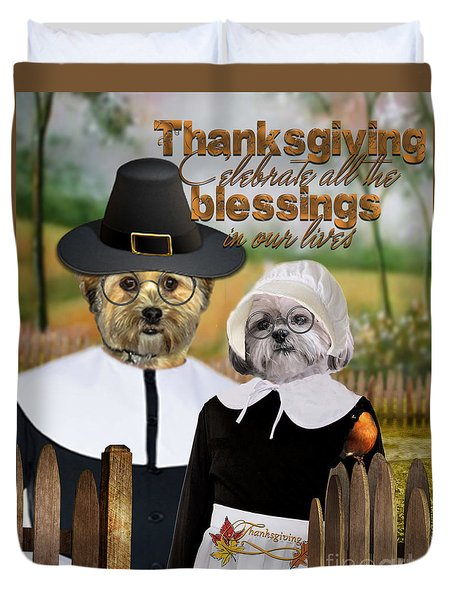 Duvet Cover featuring the digital art Thanksgiving From The Dogs-2 by Kathy Tarochione