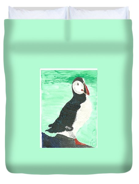 Duvet Cover featuring the painting That's Another Puffin Year Over by Tracey Williams
