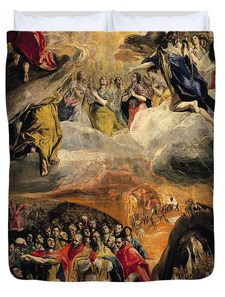 The Adoration Of The Name Of Jesus Duvet Cover by El Greco Domenico Theotocopuli