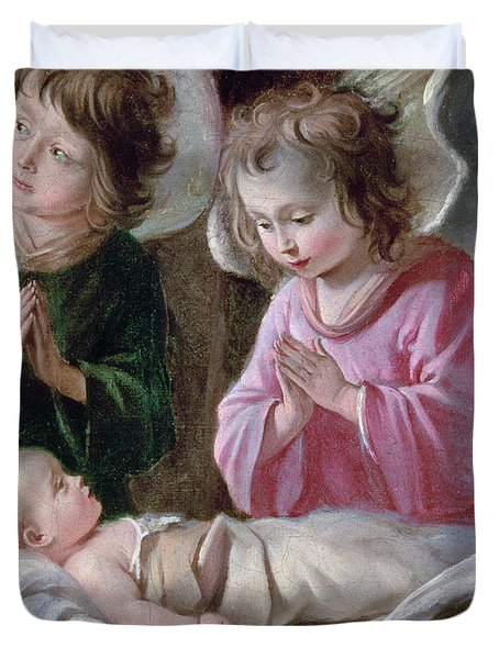 The Adoration Of The Shepherds, Angels And Child, C.1640 Oil On Canvas Detail Of 99414 Duvet Cover