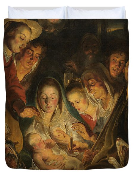 The Adoration Of The Shepherds Duvet Cover by Anonymous