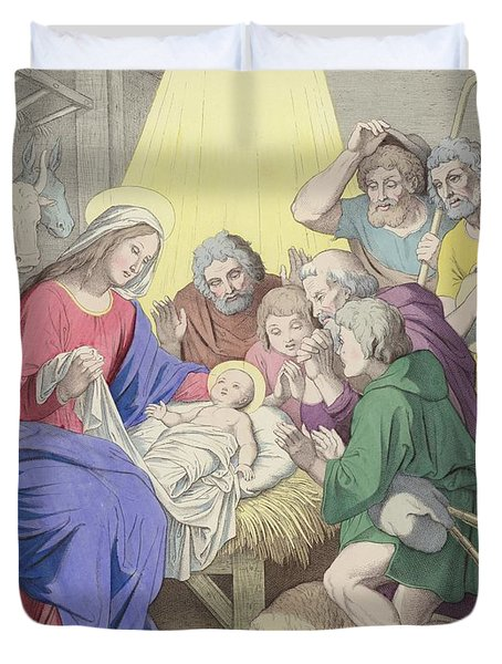 The Adoration Of The Shepherds Duvet Cover by German School