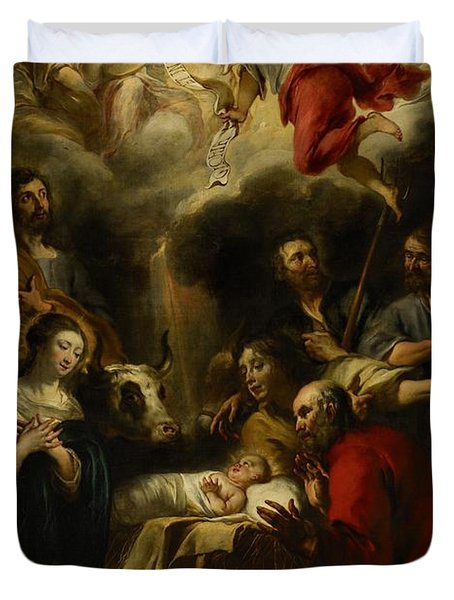 The Adoration Of The Shepherds Duvet Cover by Jan Cossiers