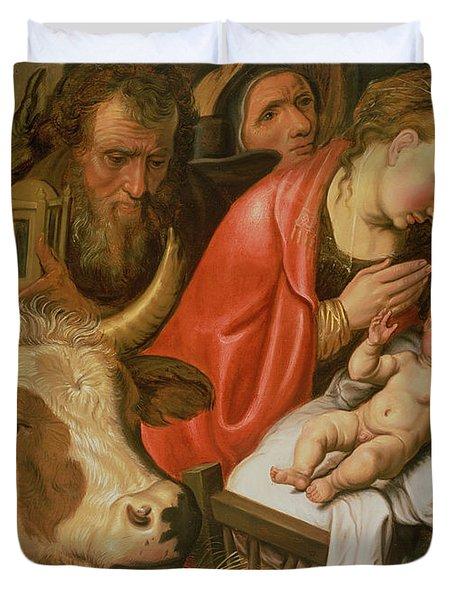 The Adoration Of The Shepherds Duvet Cover by Pieter Aertsen