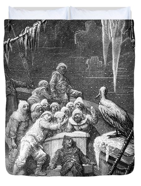 The Albatross Being Fed By The Sailors On The The Ship Marooned In The Frozen Seas Of Antartica Duvet Cover