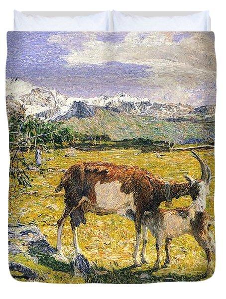The Alps In May Duvet Cover by Giovanni Segantini