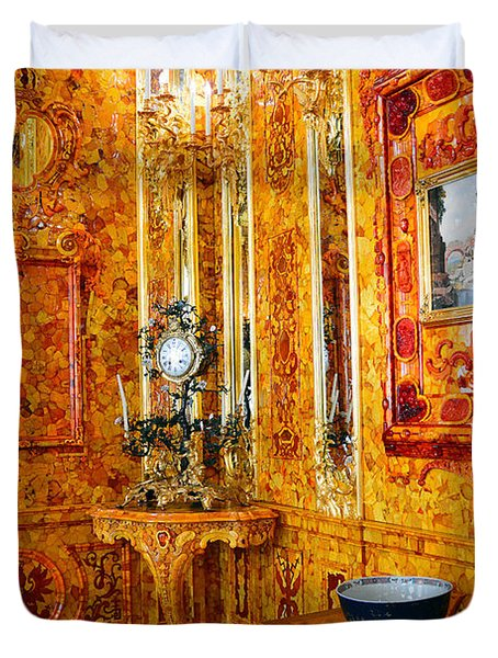 The Amber Room At Catherine Palace Duvet Cover by Catherine Sherman